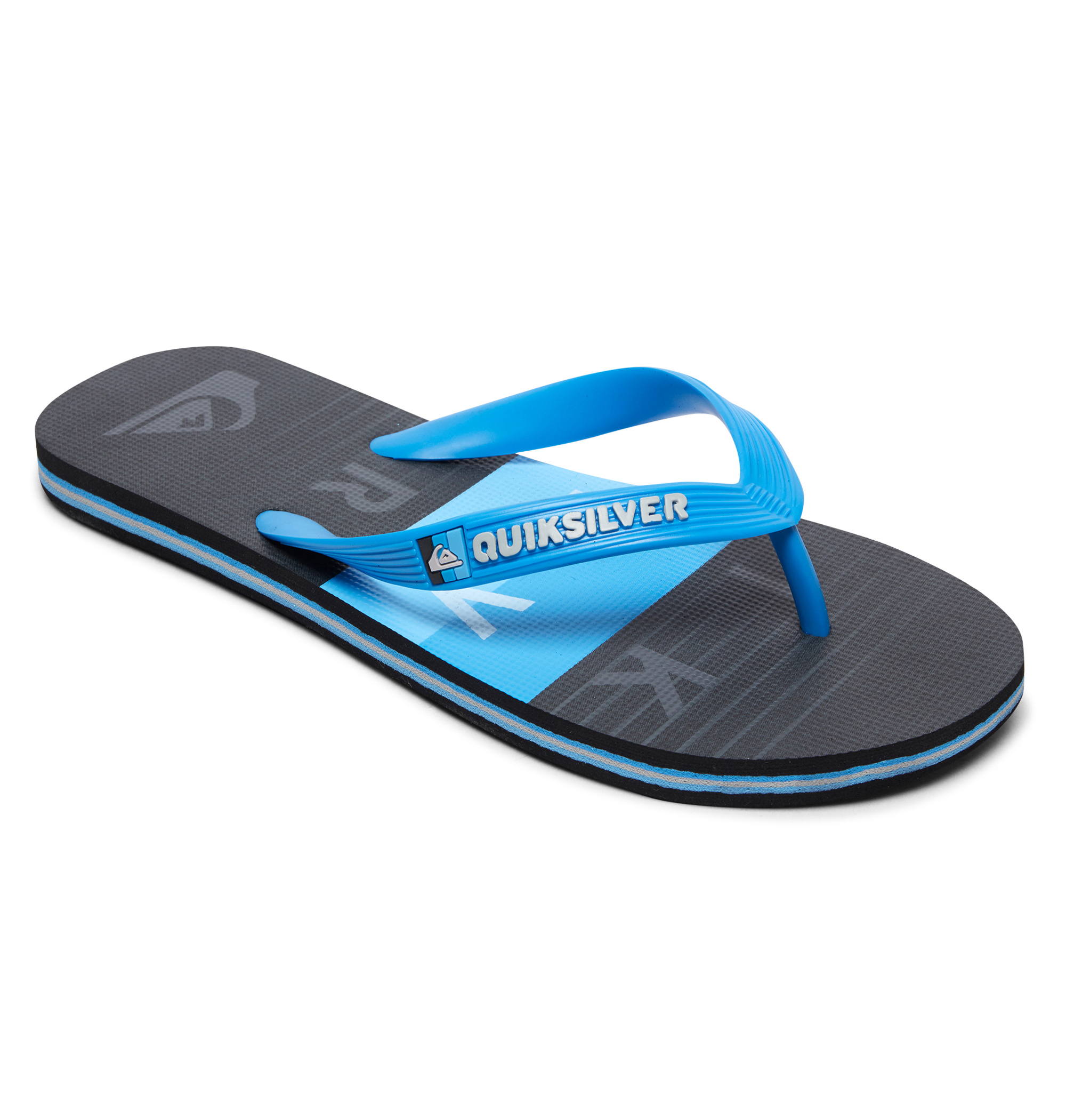 <Quiksilver> MOLOKAI WORD BLOCK YOUTH フレキシブルにフィットする3点留めのストラップで、歩きやすく快適な履き心地をサポートしたビーチサンダル