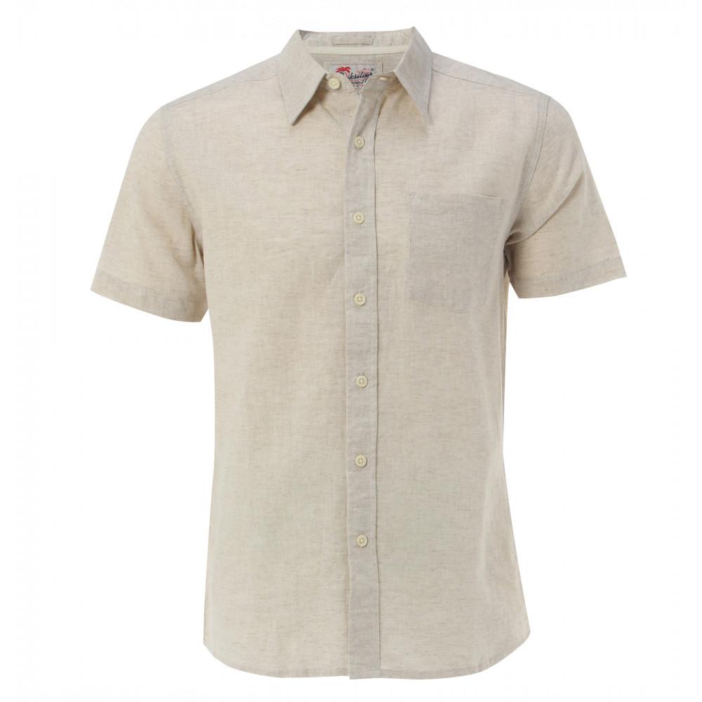 半袖リネンシャンブレーシャツ